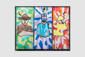 Artist Will Kerin's three wise men depicted as a farmer, doctor and fireman